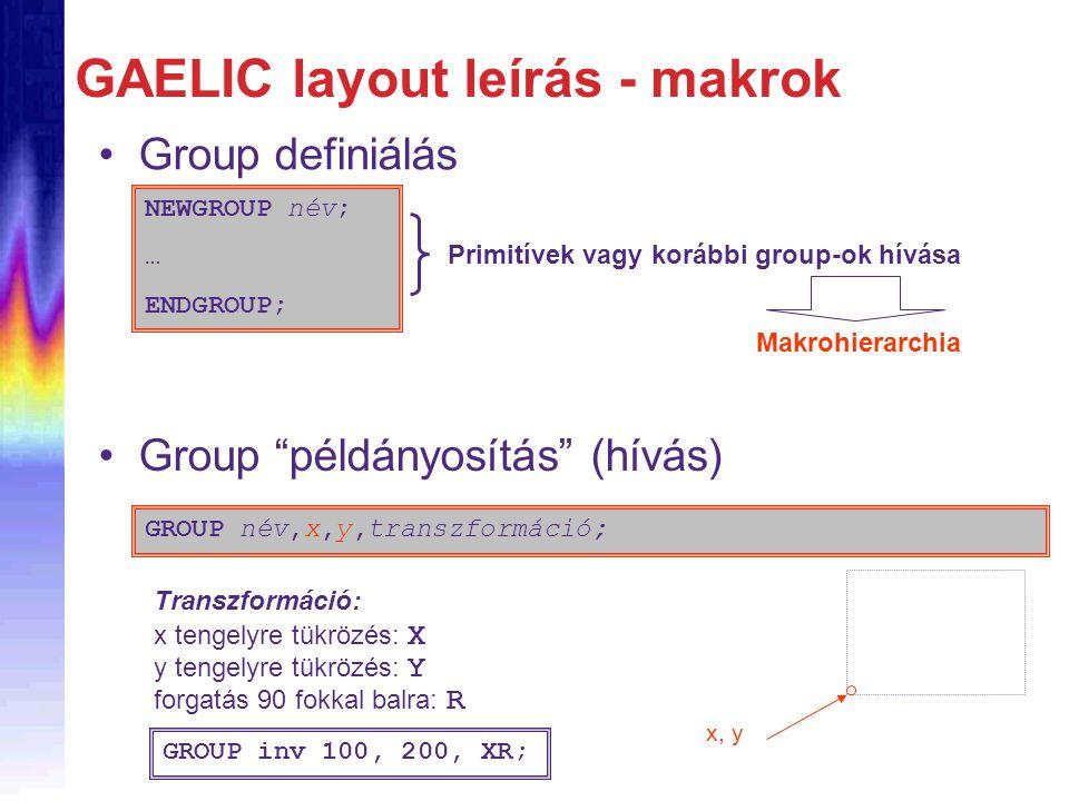 GAELIC layout leírás - makrok Group definiálás NEWGROUP név; … ENDGROUP; Primitívek vagy korábbi group-ok hívása Makrohierarchia Group példányosítás (hívás) GROUP név,x,y,transzformáció; x, y Transzformáció: x tengelyre tükrözés: X y tengelyre tükrözés: Y forgatás 90 fokkal balra: R GROUP inv 100, 200, XR;