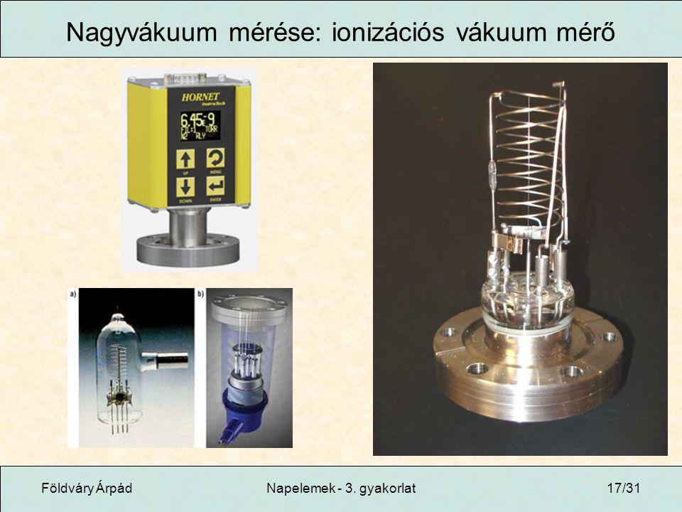Földváry ÁrpádNapelemek - 3. gyakorlat17/31 Nagyvákuum mérése: ionizációs vákuum mérő