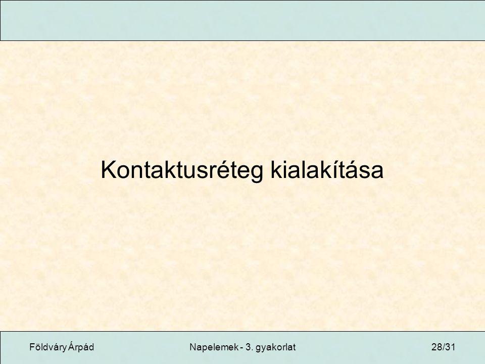 Földváry ÁrpádNapelemek - 3. gyakorlat28/31 Kontaktusréteg kialakítása
