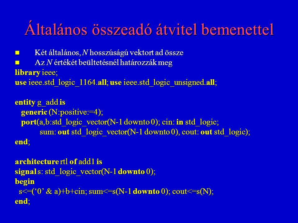Flip-flop regiszter aszinkron törléssel library ieee; use ieee.std_logic_1164.all; entity d_mem is port(clk,resetn,d_in: in std_logic; d_out: out std_logic); end; architecture rtl of d_mem is begin process(clk,resetn) process(clk,resetn) begin begin if resetn='0' then d_out<='0'; if resetn='0' then d_out<='0'; elsif clk'event and clk='1' then d_out<=d_in; elsif clk'event and clk='1' then d_out<=d_in; end if; end if; end process; end process; end;