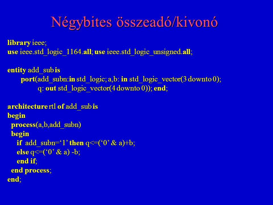 Flip-flop regiszter szinkron törléssel library ieee; use ieee.std_logic_1164.all; entity d_mem is port(clk,resetn,d_in: in std_logic; d_out: out std_logic); end; architecture rtl of d_mem is begin process(clk) process(clk) begin begin if clk'event and clk='1' then if clk'event and clk='1' then if resetn='0' then d_out<='0'; if resetn='0' then d_out<='0'; else d_out<=d_in; else d_out<=d_in; end if; end if; end process; end process; end;