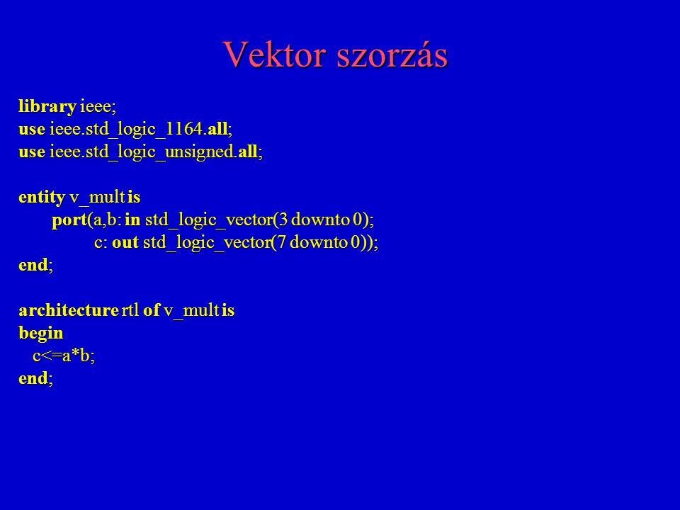 Flip-flop regiszter aszinkron törléssel és beállítással (reset and set) library ieee; use ieee.std_logic_1164.all; entity d_mem is port(clk,resetn,presetn,d_in: in std_logic; d_out: out std_logic); end; d_out: out std_logic); end; architecture rtl of d_mem is begin process(clk,resetn,presetn) process(clk,resetn,presetn) begin begin if resetn='0' then d_out<='0'; if resetn='0' then d_out<='0'; elsif presetn='0' then d_out<='1'; elsif presetn='0' then d_out<='1'; elsif clk'event and clk='1' then d_out<=d_in; elsif clk'event and clk='1' then d_out<=d_in; end if; end if; end process; end process; end;
