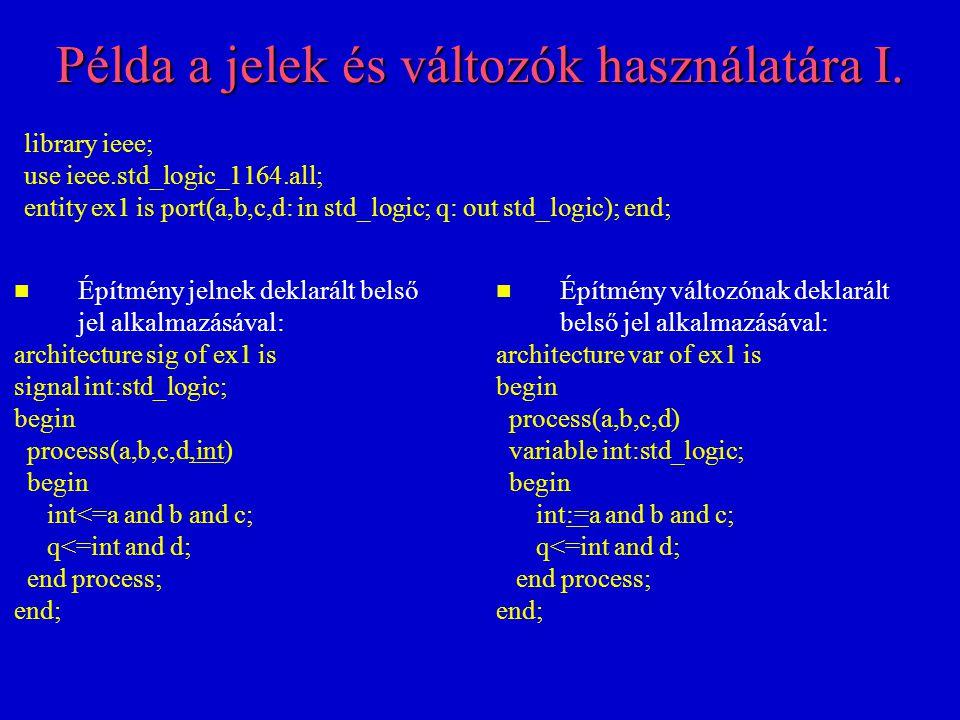 Példa a jelek és változók használatára II.