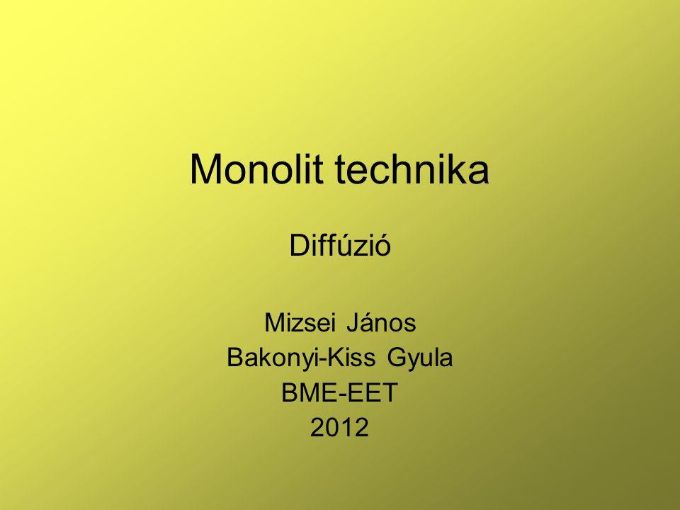 42 Példa diffúzió alkalmazására a monolit technikában npn bipoláris tranzisztor X, μm lgN 1 2 x jBE 3 x jBC 4 5