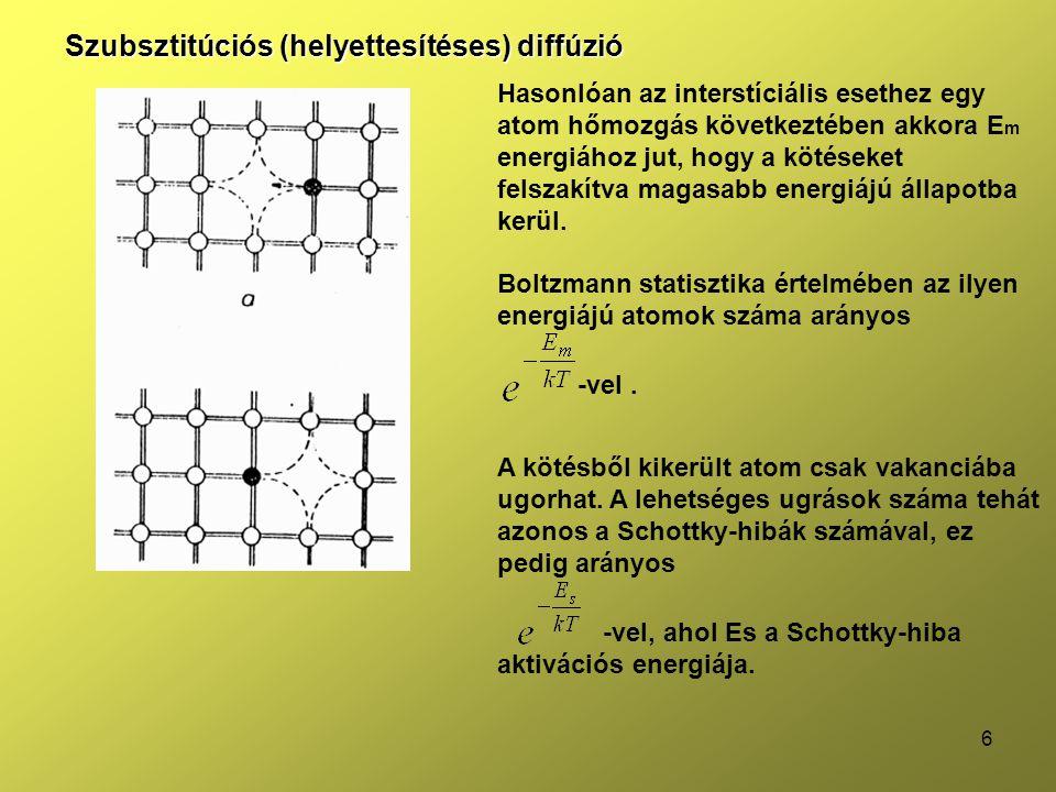 7 Mivel egy atomnak 4 szomszédja van, ezért 4 úton lehetséges az ugrás, így az ugrások frekvenciája: Adalékanyagok diffúziójára a kísérletileg mért E m +E s érték kisebb, mint az elméletileg számított érték.