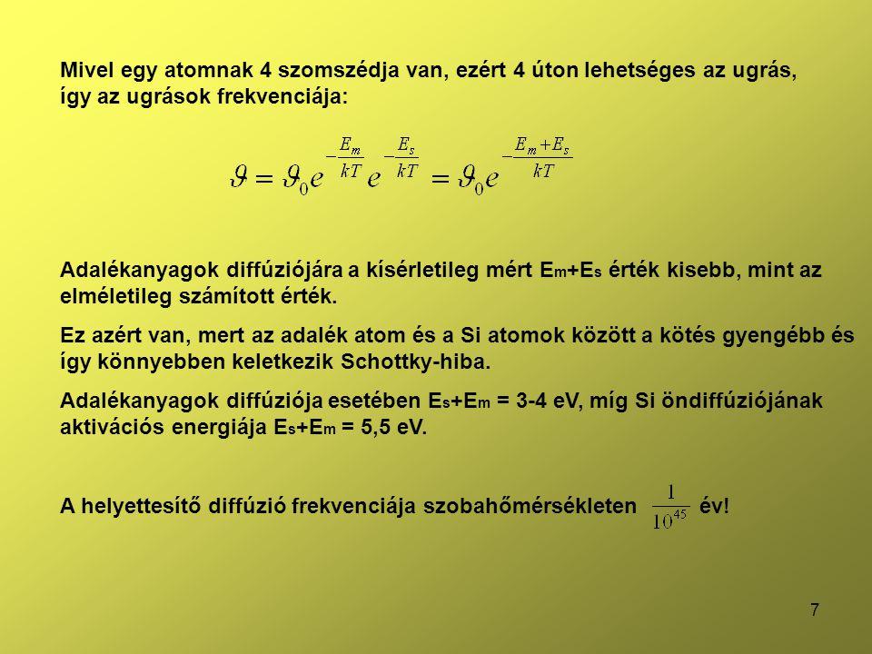 8 A használt adalékatomok (P, As, Sb, B, stb.) szubsztitúciós diffúzióval ↓ Nekünk pont az kell, hogy beépüljenek a rácsba és így elektron többlet – hiány alakuljon ki.