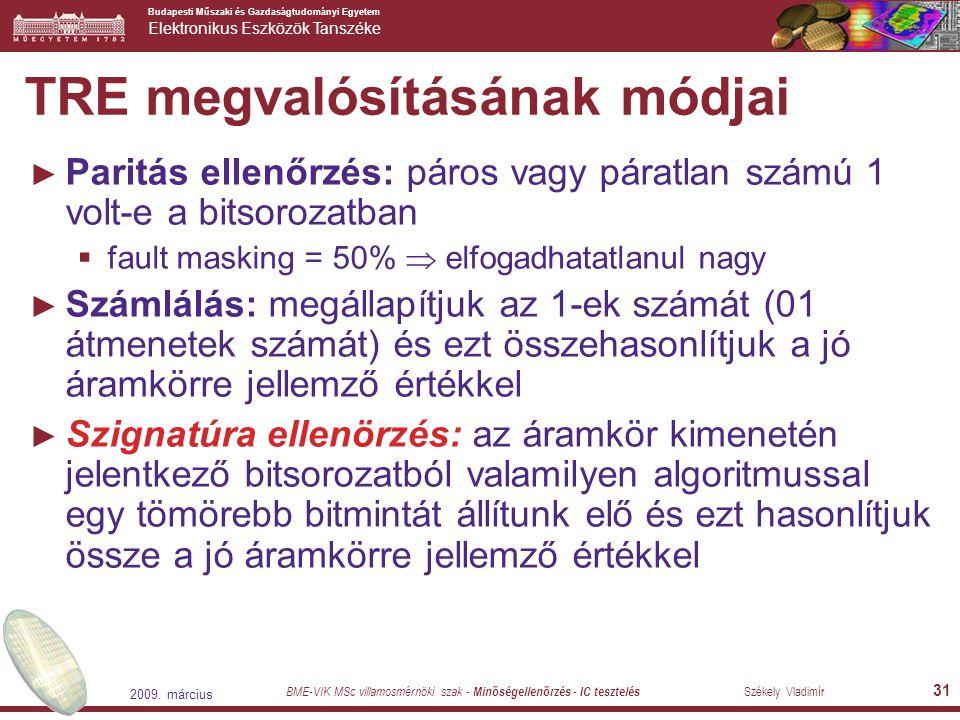 Budapesti Műszaki és Gazdaságtudományi Egyetem Elektronikus Eszközök Tanszéke BME-VIK MSc villamosmérnöki szak - Minőségellenőrzés - IC tesztelés Szék