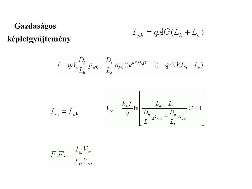 A fény detektálás szempontjából legkedvezőbb munkaponti beállítások Szakadás (I=0), a karakterisztika logaritmikus lesz: Rövidzár (vagy záróirányú elő