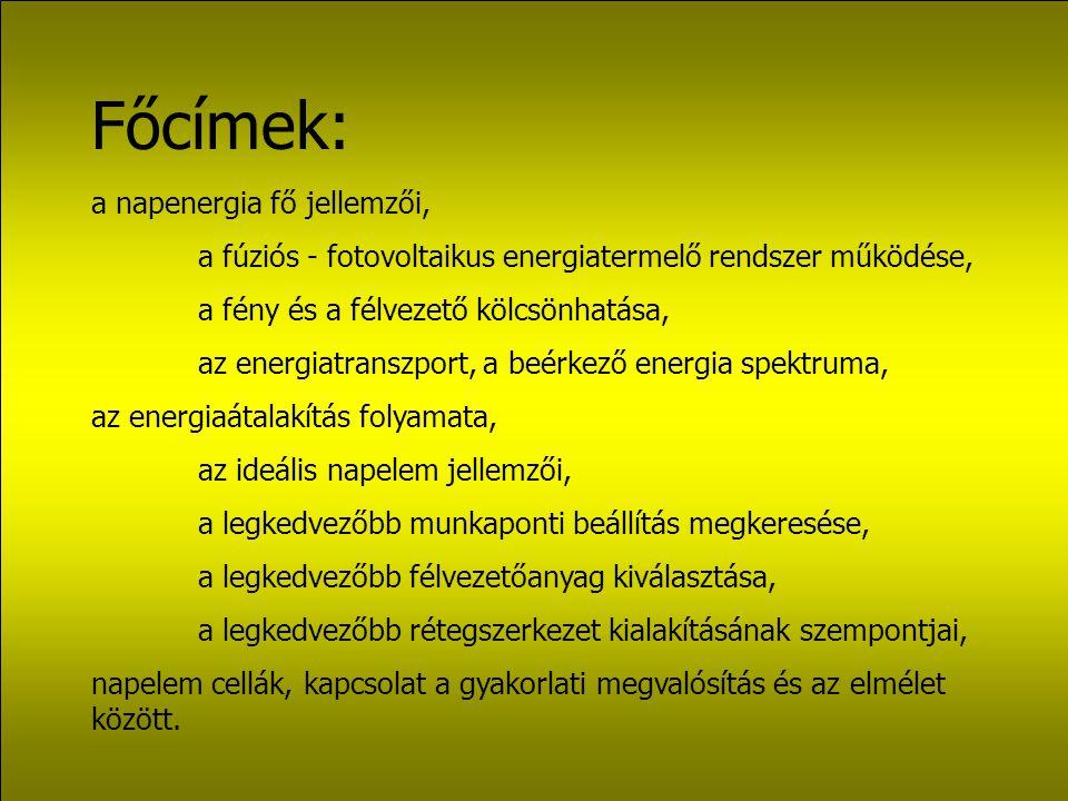 Főcímek: a napenergia fő jellemzői, a fúziós - fotovoltaikus energiatermelő rendszer működése, a fény és a félvezető kölcsönhatása, az energiatranszport, a beérkező energia spektruma, az energiaátalakítás folyamata, az ideális napelem jellemzői, a legkedvezőbb munkaponti beállítás megkeresése, a legkedvezőbb félvezetőanyag kiválasztása, a legkedvezőbb rétegszerkezet kialakításának szempontjai, napelem cellák, kapcsolat a gyakorlati megvalósítás és az elmélet között.