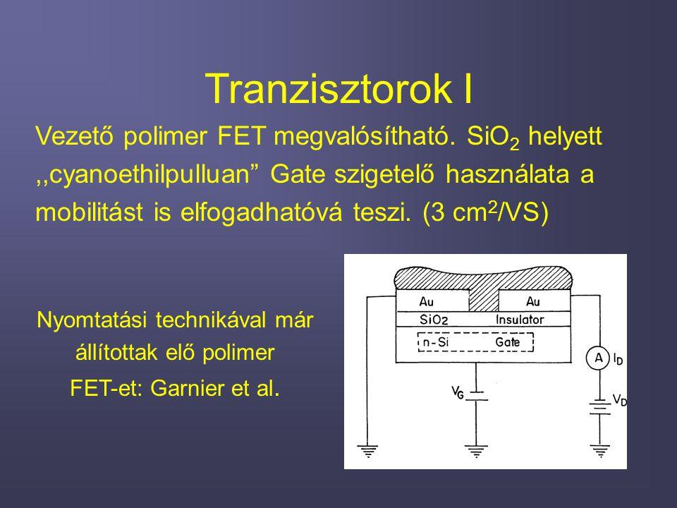 Tranzisztorok I Vezető polimer FET megvalósítható.