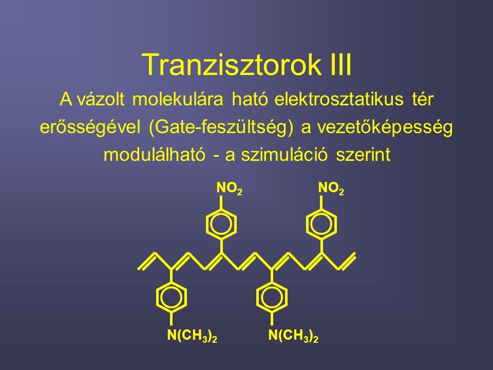 Tranzisztorok III A vázolt molekulára ható elektrosztatikus tér erősségével (Gate-feszültség) a vezetőképesség modulálható - a szimuláció szerint N(CH 3 ) 2 NO 2