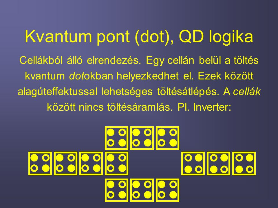 Kvantum pont (dot), QD logika Cellákból álló elrendezés.