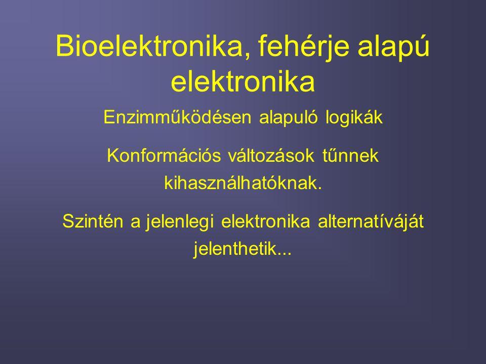 Bioelektronika, fehérje alapú elektronika Enzimműködésen alapuló logikák Konformációs változások tűnnek kihasználhatóknak.
