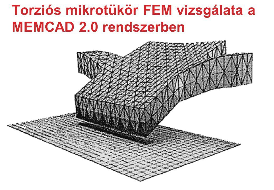 Torziós mikrotükör FEM vizsgálata a MEMCAD 2.0 rendszerben