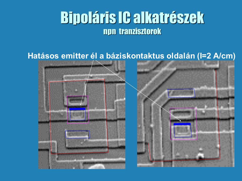 Bipoláris IC alkatrészek npn tranzisztorok Hatásos emitter él a báziskontaktus oldalán (I=2 A/cm)