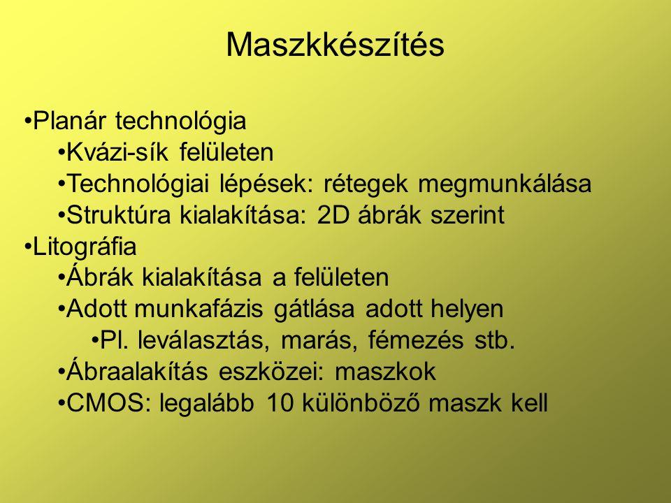 2 Maszkkészítés Maszkok Primer: ábrahordozó, árnyékolás levilágításnál Reziszt (szerves): művelet gátlás, oxidmaszk kialakítás Oxid: védelem műveletek ellen, amire reziszt nem alkalmas