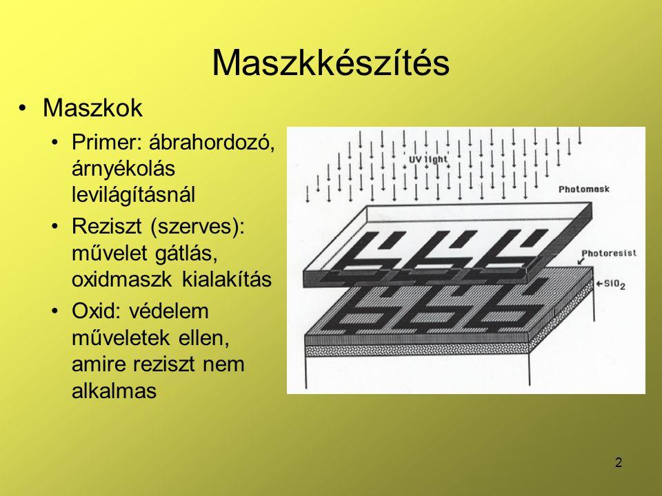 3 Maszkkészítés Kritérium: pontosság Abszolút pontosság Technológiai felbontás egysége ( ) szerint (vonalvastagság, ábra alakja) Relatív pontosság Koherencia: illeszthetőség adott munkadarab különböző maszkjai között Illesztés a lépések során: kézzel (~1  m) / lézeres interferometria (pár nm) Előtorzítás: a technológia okozta torzítások ellen