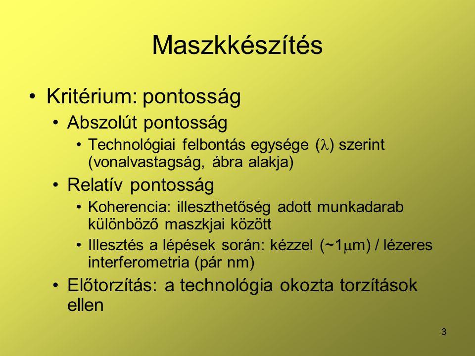 4 Maszkkészítés Primer maszk –fém vagy Fe 2 O 3 üveg hordozón –Pontos és drága (pl.