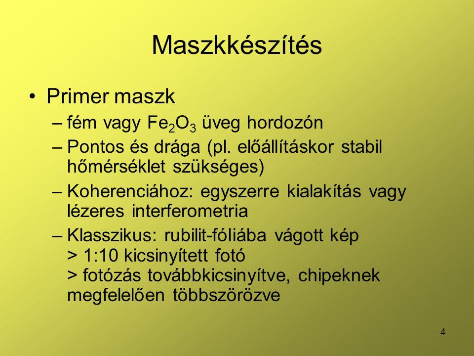 4 Maszkkészítés Primer maszk –fém vagy Fe 2 O 3 üveg hordozón –Pontos és drága (pl. előállításkor stabil hőmérséklet szükséges) –Koherenciához: egysze