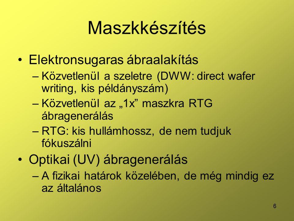 7 Maszkkészítés Ionsugaras ábraalakítás –DWW (rezisztre) –Anyageltávolítás (l.