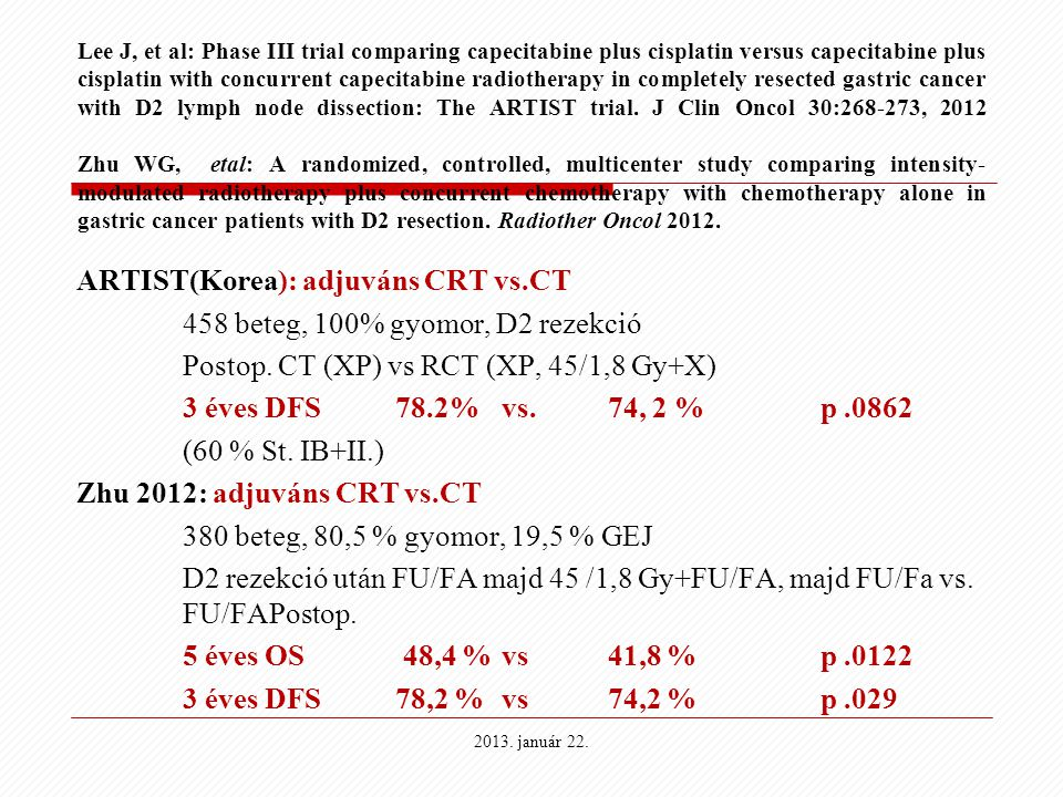 Lee J, et al: Phase III trial comparing capecitabine plus cisplatin versus capecitabine plus cisplatin with concurrent capecitabine radiotherapy in co