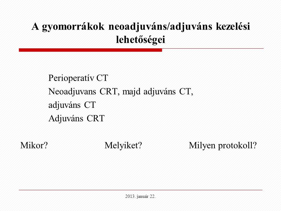 A gyomorrákok neoadjuváns/adjuváns kezelési lehetőségei Perioperatív CT Neoadjuvans CRT, majd adjuváns CT, adjuváns CT Adjuváns CRT Mikor?Melyiket?Mil