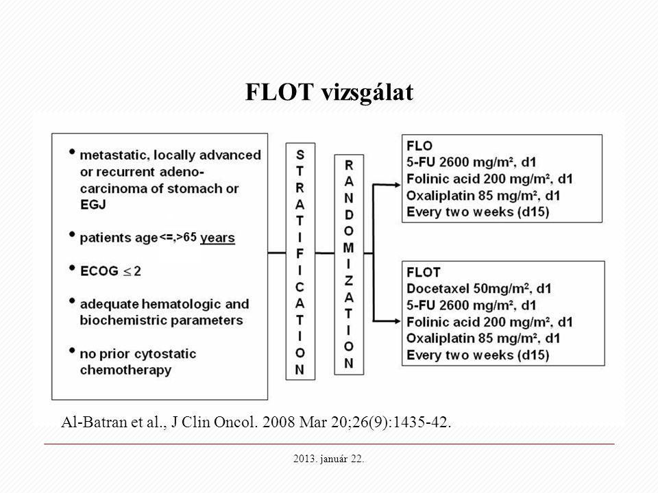 2013. január 22. FLOT vizsgálat Al-Batran et al., J Clin Oncol. 2008 Mar 20;26(9):1435-42.