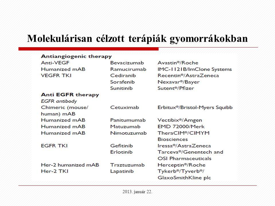 Molekulárisan célzott terápiák gyomorrákokban 2013. január 22.