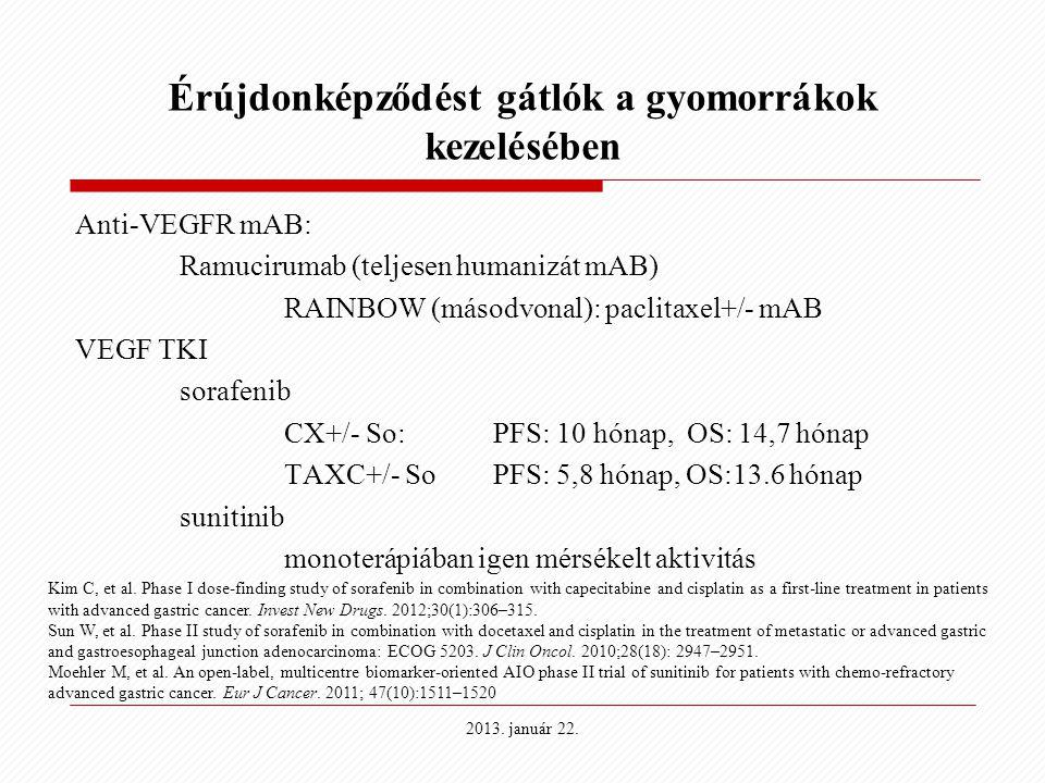 2013. január 22. Érújdonképződést gátlók a gyomorrákok kezelésében Anti-VEGFR mAB: Ramucirumab (teljesen humanizát mAB) RAINBOW (másodvonal): paclitax
