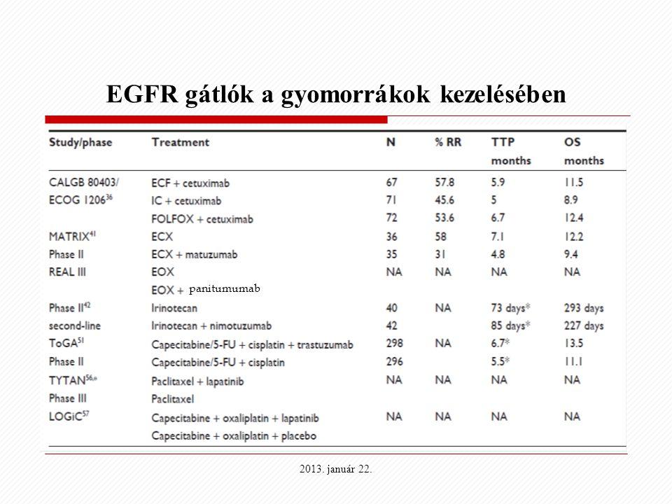 EGFR gátlók a gyomorrákok kezelésében panitumumab