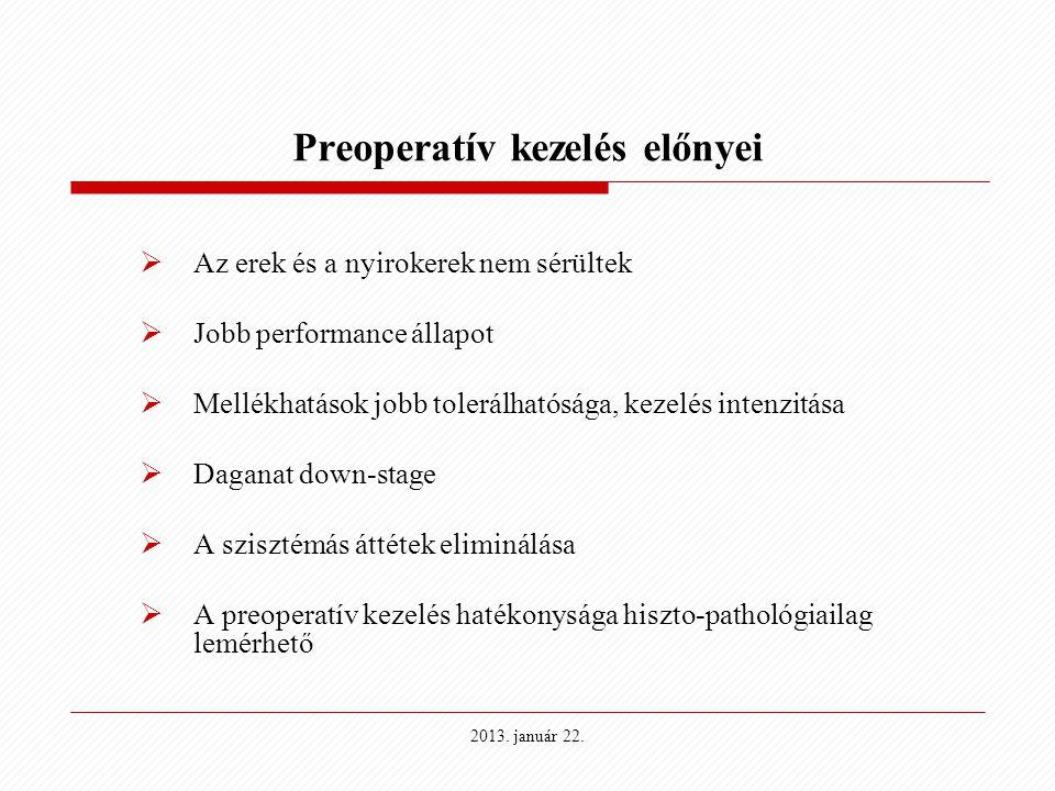 2013. január 22. Preoperatív kezelés előnyei  Az erek és a nyirokerek nem sérültek  Jobb performance állapot  Mellékhatások jobb tolerálhatósága, k