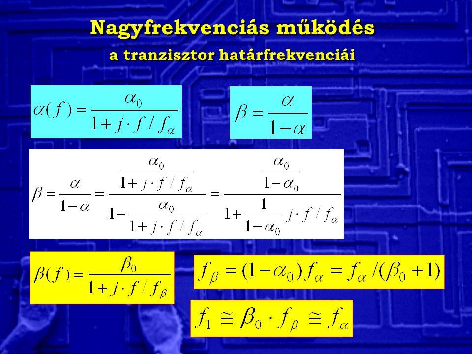 Nagyfrekvenciás működés a tranzisztor határfrekvenciái Nagyfrekvenciás működés a tranzisztor határfrekvenciái