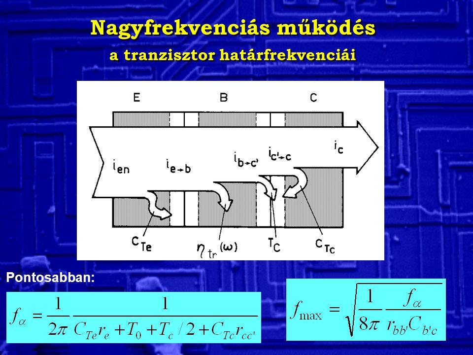 Nagyfrekvenciás működés a tranzisztor határfrekvenciái Nagyfrekvenciás működés a tranzisztor határfrekvenciái Pontosabban: