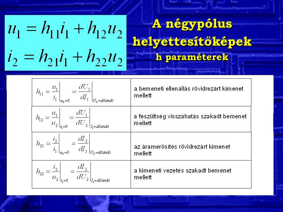 A négypólus helyettesítőképek FE és FB h paraméterek A négypólus helyettesítőképek FE és FB h paraméterek
