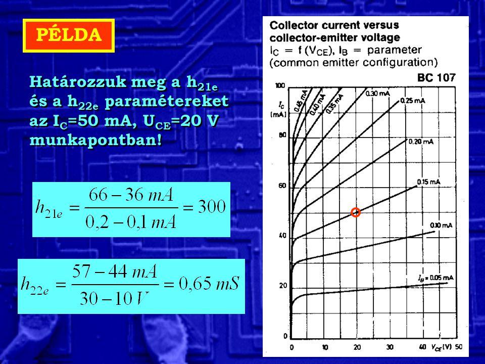 PÉLDA Határozzuk meg a h 21e és a h 22e paramétereket az I C =50 mA, U CE =20 V munkapontban!