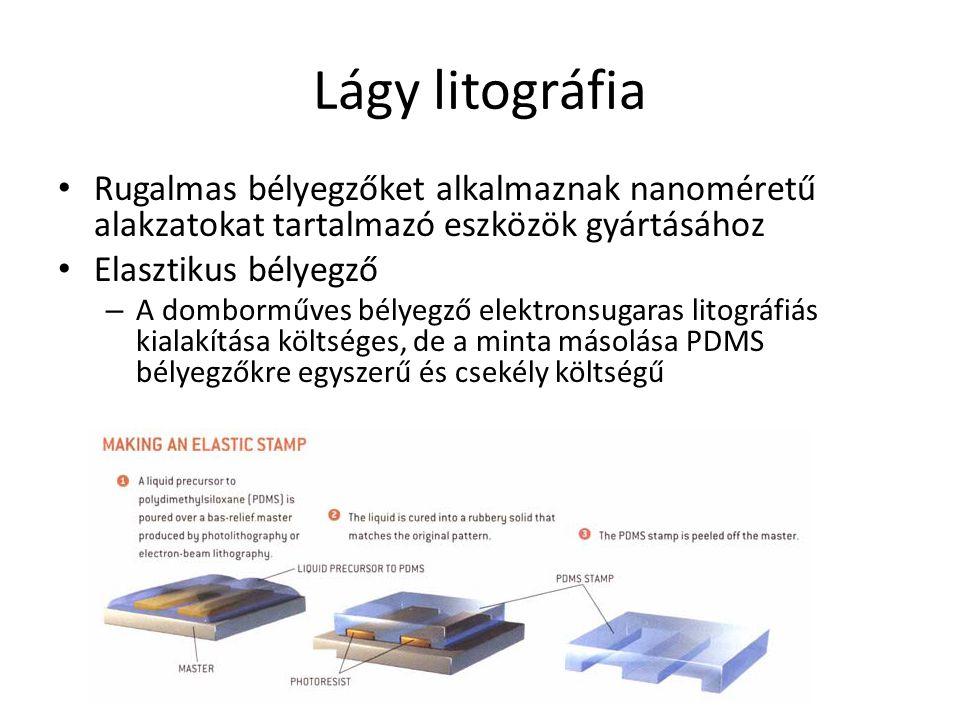 Lágy litográfia Rugalmas bélyegzőket alkalmaznak nanoméretű alakzatokat tartalmazó eszközök gyártásához Elasztikus bélyegző – A domborműves bélyegző e