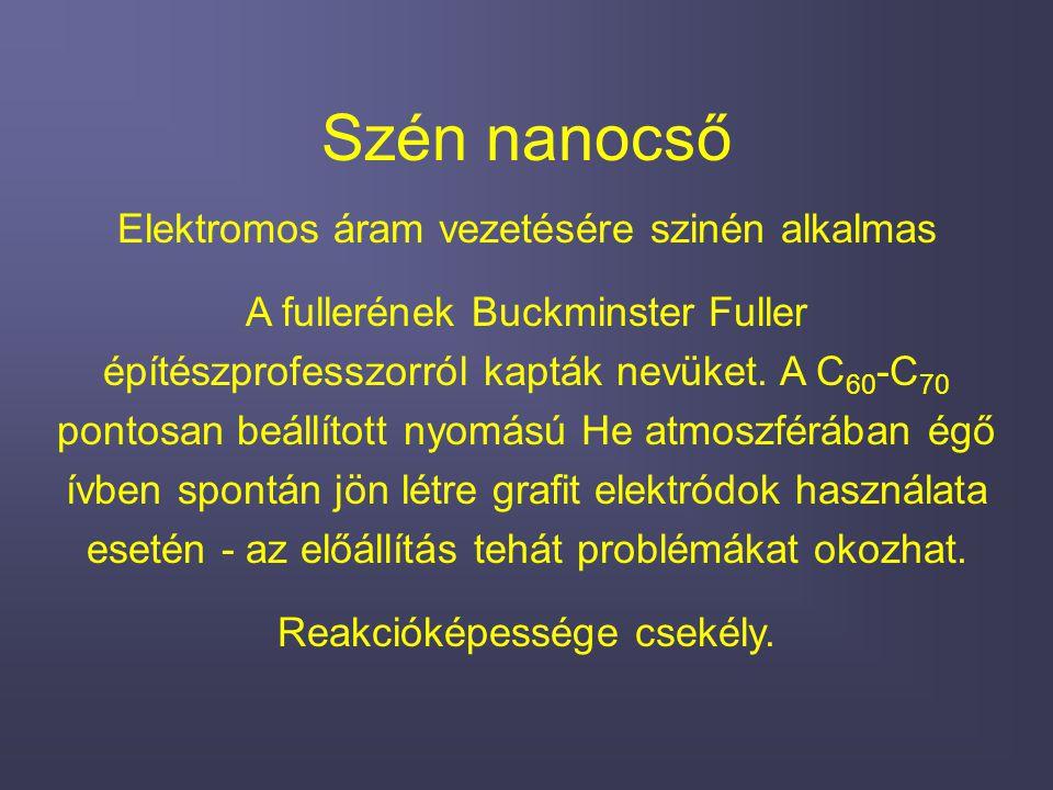 Szén nanocső Elektromos áram vezetésére szinén alkalmas A fullerének Buckminster Fuller építészprofesszorról kapták nevüket. A C 60 -C 70 pontosan beá