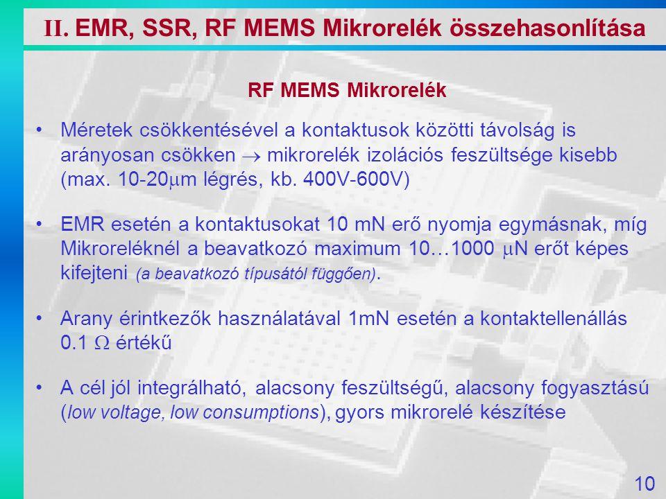 RF MEMS Mikrorelék Méretek csökkentésével a kontaktusok közötti távolság is arányosan csökken  mikrorelék izolációs feszültsége kisebb (max. 10-20 
