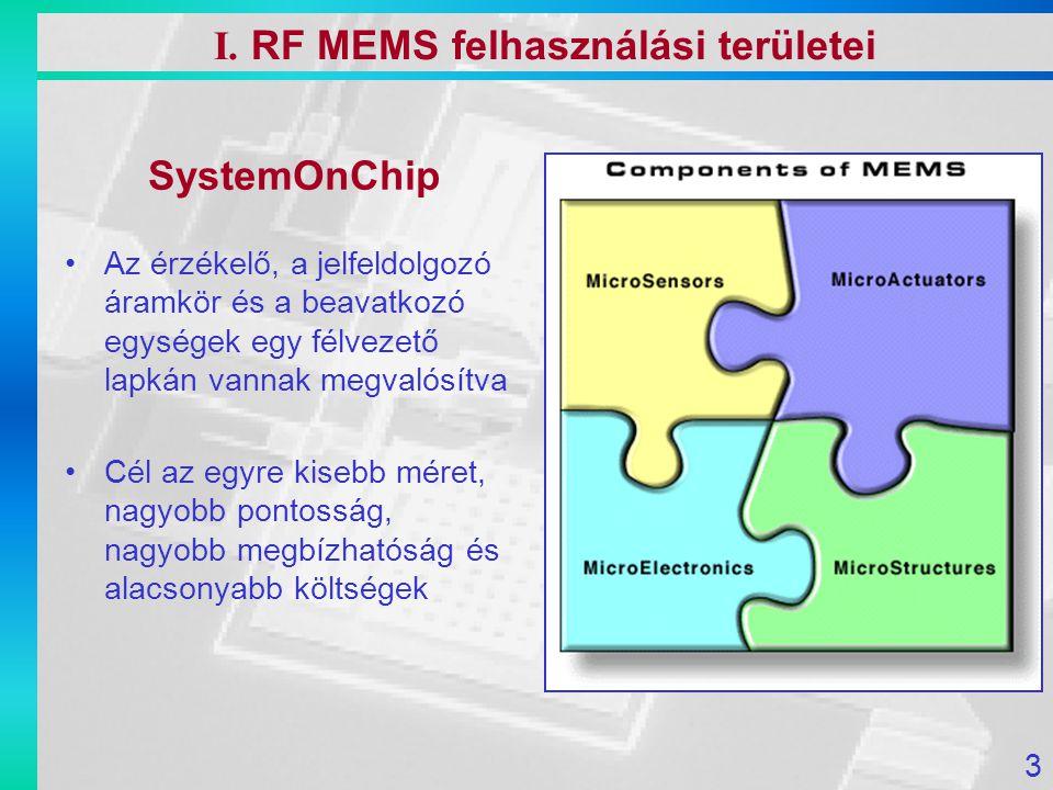 I. RF MEMS felhasználási területei SystemOnChip Az érzékelő, a jelfeldolgozó áramkör és a beavatkozó egységek egy félvezető lapkán vannak megvalósítva