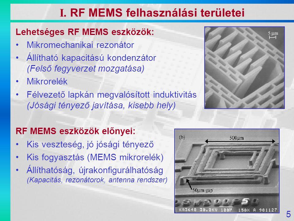 Lehetséges RF MEMS eszközök: Mikromechanikai rezonátor Állítható kapacitású kondenzátor (Felső fegyverzet mozgatása) Mikrorelék Félvezető lapkán megva