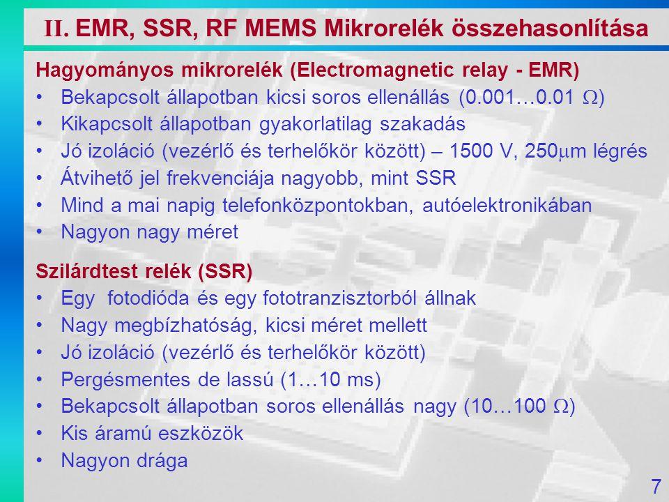 Hagyományos mikrorelék (Electromagnetic relay - EMR) Bekapcsolt állapotban kicsi soros ellenállás (0.001…0.01  ) Kikapcsolt állapotban gyakorlatilag