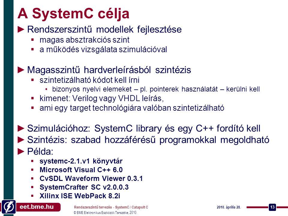 eet.bme.hu © BME Elektronikus Eszközök Tanszéke, 2010. 2010. április 28. Rendszerszintű tervezés - SystemC / Catapult C 13 A SystemC célja ►Rendszersz