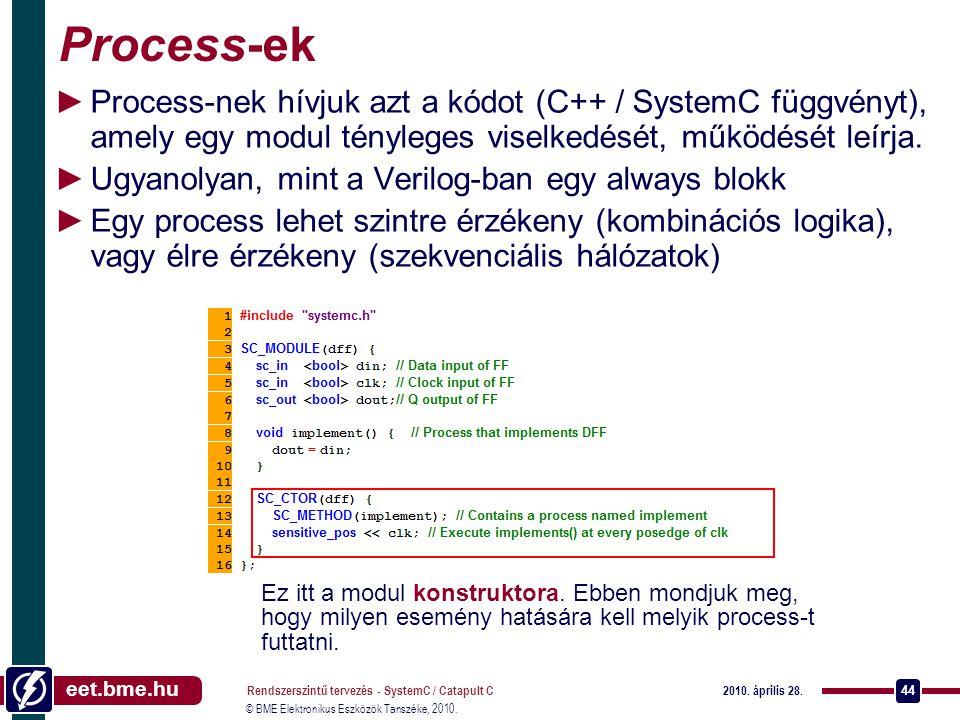eet.bme.hu © BME Elektronikus Eszközök Tanszéke, 2010. 2010. április 28. Rendszerszintű tervezés - SystemC / Catapult C 44 Process-ek ►Process-nek hív