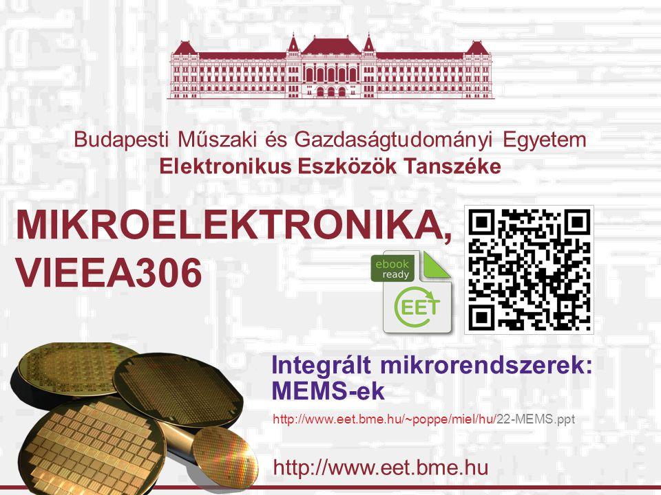 http://www.eet.bme.hu Budapesti Műszaki és Gazdaságtudományi Egyetem Elektronikus Eszközök Tanszéke MIKROELEKTRONIKA, VIEEA306 Integrált mikrorendszerek: MEMS-ek http://www.eet.bme.hu/~poppe/miel/hu/22-MEMS.ppt