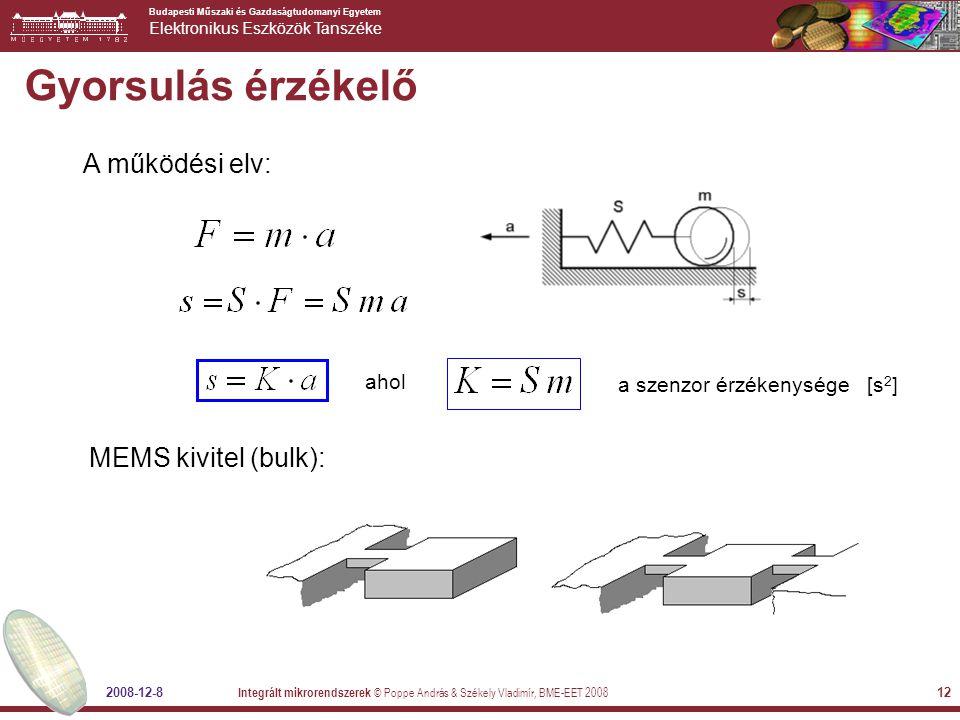 Budapesti Műszaki és Gazdaságtudomanyi Egyetem Elektronikus Eszközök Tanszéke 2008-12-8 Integrált mikrorendszerek © Poppe András & Székely Vladimír, BME-EET 2008 12 Gyorsulás érzékelő A működési elv: ahol a szenzor érzékenysége [s 2 ] MEMS kivitel (bulk):