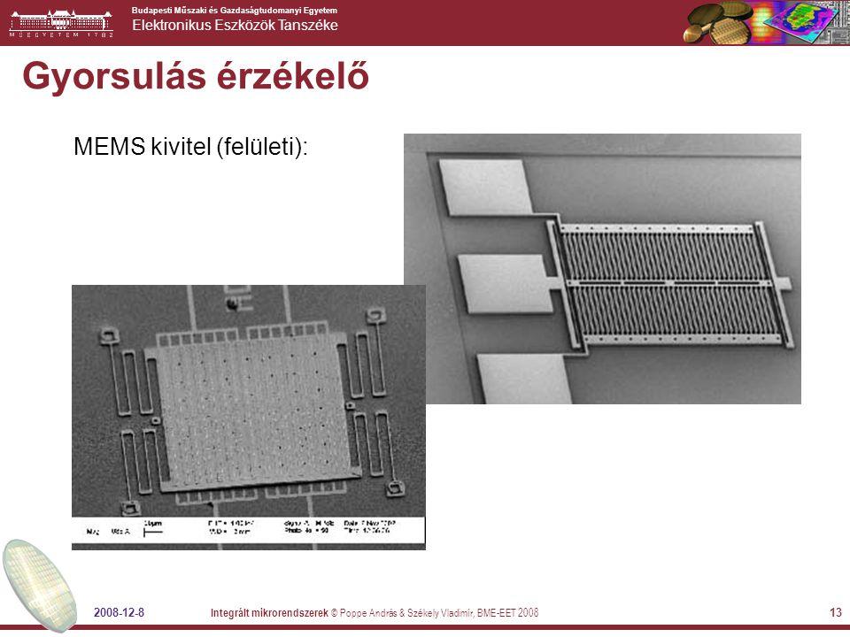 Budapesti Műszaki és Gazdaságtudomanyi Egyetem Elektronikus Eszközök Tanszéke 2008-12-8 Integrált mikrorendszerek © Poppe András & Székely Vladimír, BME-EET 2008 13 Gyorsulás érzékelő MEMS kivitel (felületi):