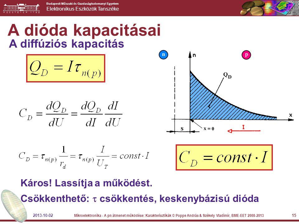 Budapesti Műszaki és Gazdaságtudomanyi Egyetem Elektronikus Eszközök Tanszéke 15 A dióda kapacitásai A diffúziós kapacitás Káros! Lassítja a működést.