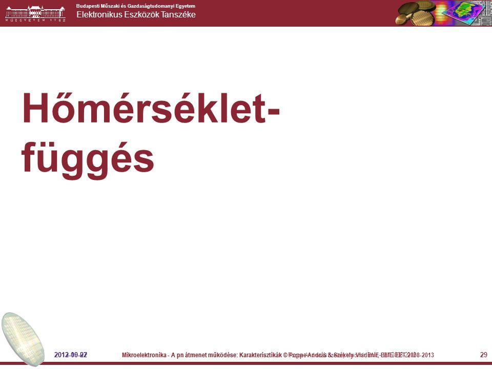 Budapesti Műszaki és Gazdaságtudomanyi Egyetem Elektronikus Eszközök Tanszéke 29 Hőmérséklet- függés 2012-09-27 Mikroelektronika - A pn átmenet működé