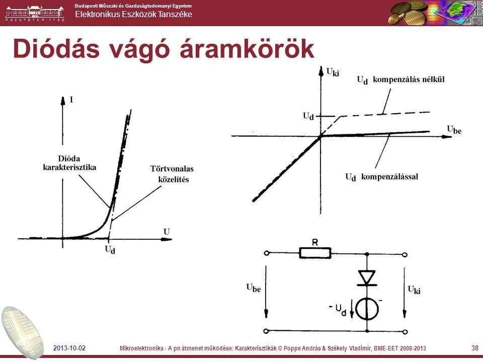 Budapesti Műszaki és Gazdaságtudomanyi Egyetem Elektronikus Eszközök Tanszéke 38 Diódás vágó áramkörök 2013-10-02 Mikroelektronika - A pn átmenet műkö