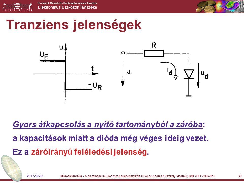 Budapesti Műszaki és Gazdaságtudomanyi Egyetem Elektronikus Eszközök Tanszéke 39 Tranziens jelenségek Gyors átkapcsolás a nyitó tartományból a záróba: